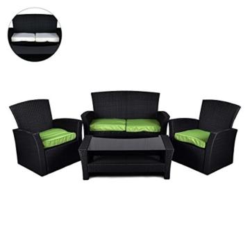 Rattan Set 4tlg mit Glastisch grün Garnitur Gartenmöbel Sitzgruppe Poly Rattan, nkl. höhenverstellbare Füße und Sicherheitsglas 4-sitzer 4-teilig -