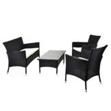 Rattan Set 4tlg mit Glastisch weiß Garnitur Sitzgruppe Gartenmöbel Poly-Rattan 4-teilig 4-sitzer -