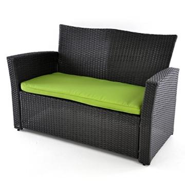Rattan Set 4tlg Tisch mit 2 Sessel und 1 Sofa schwarz Polster grün Rattangarnitur Sitzgruppe Füße höhenverstellbar Glasplatte Set 4-sitzer 4-teilig -