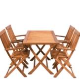 Sitzgruppe 5tlg SYDNEY Sitzgarnitur Gartengarnitur Holz 4 Stühle 1 Tisch -