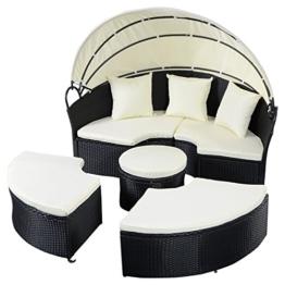 Sonneninsel Sonnenliege Strandkorb Polyrattenliege Rattan Lounge Rattenbett Gartenliege GartenmöbelSitzgarnitur mit Sonnendach -