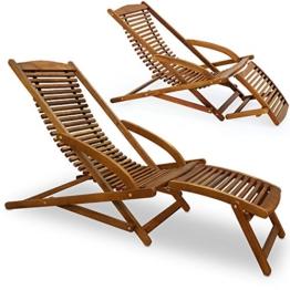 Sunlounger - Sonnenliege aus Akazienholz - Gartenliege Liegestuhl Holzliege -