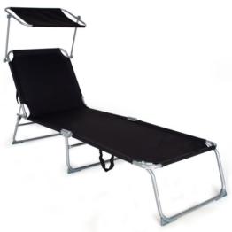 TecTake® 2 x Gartenliege Sonnenliege Strandliege Freizeitliege mit Sonnendach 190cm schwarz -