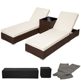 TecTake 2x Aluminium Polyrattan Sonnenliege + Tisch Gartenmöbel Set - antik braun - inkl. 2 Bezugsets + Schutzhülle, Edelstahlschrauben -
