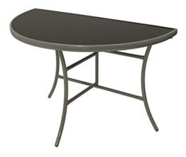 Wandtisch PALERMO halbrund 58x110cm, klappbar, Stahl silberfarben, Glas schwarz, Innen und Außen -